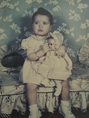 VINTAGE ANTIQUE EARLY COLOR BABY GIRL NEW DOLL ARTISTIC AMERICAN LOVE OLD PHOTO