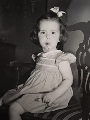 VINTAGE 1941 WW2 ERA SMOKING BABY GIRL REBEL FUNNY SNAPSHOT VERNACULAR OLD PHOTO