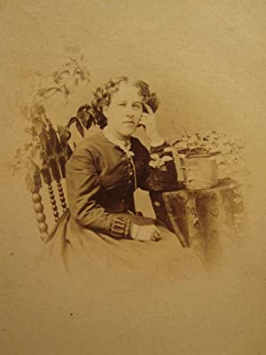 ANTIQUE CIVIL WAR ERA FAY JOLIET IL POTTED PLANT GREEN THUMB GIRL LADY CDV PHOTO