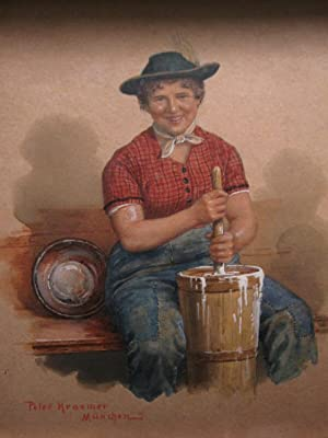 ANTIQUE GERMAN PAINTING BUTTER CREAM CHURNER GIRL MUNCHEN P KRAEMER ART PAINTING