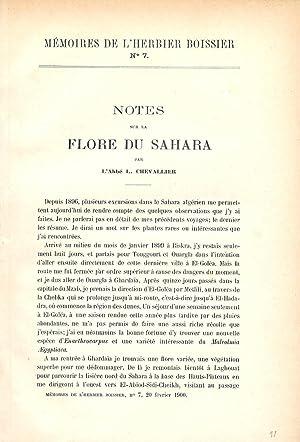 Mémoires de l'Herbier Boissier N°7 - Notes: CHEVALIER (Abbé L.).