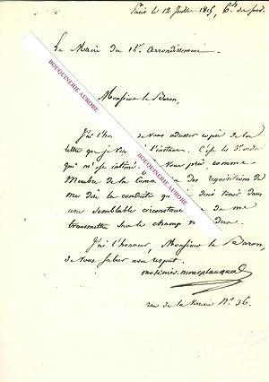 Lettre autographe signée de MOLINIER-MONTPLAQUA, Maire du: MOLINIER-MONTPLANQUA - Avocat