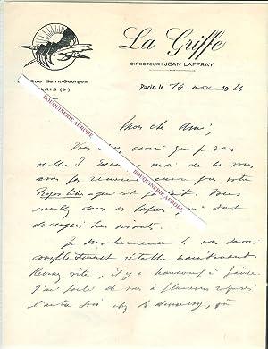 Lettre autographe signée de Jean Laffray, Journaliste,: Jean LAFFRAY (dates