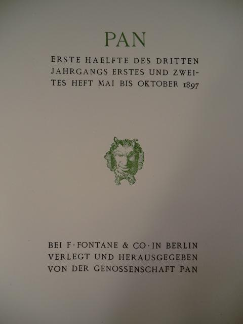 Kunstzeitschrift Pan. Heft 4 des zweiten Jahrgangs: Genossenschaft Pan (Hrsg.)