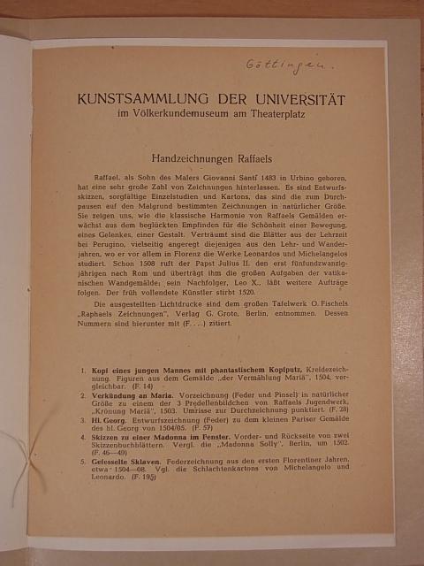 Handzeichnungen Raffaels. Kunstsammlung der Universität Göttingen im: Georg August-Universität Göttingen