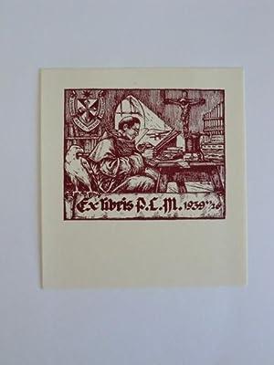 Exlibris für P.C.M. Motiv: Mönch an Schreibmaschine: Sterbenz, Karoly: