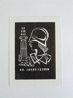 Exlibris Dr. Jakab Istvan. Motiv: Antikes Porträt: Unbekannter Künstler: