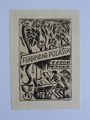Exlibris für Ferdinand Polasek. Motiv: Lesender. Daneben: Konupek, Jan: