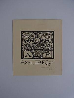 Exlibris A R Primo Vere. Motiv: Blumenstrauss.: Unbekannter Künstler: