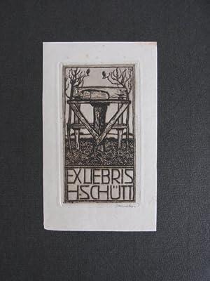 Exlibris. Exliebris H. Schütt. Motiv: Tisch mit: Unbekannter Künstler, signiert