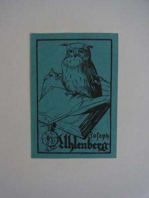 Exlibris für Joseph Uhlenberg. Motiv: Eule auf: Unbekannter Künstler, eventuell