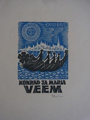 Exlibris Konrad ja Maria Veem. Signiert: Unbekannter Künstler: