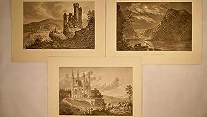 3xStahlstiche-Apolinaris-Kirche.Mäusethurm & Ruine Ehrenfels.Rheinland Bingen.Lurleyfelsen bei Nacht.Blick: Foltz,F.