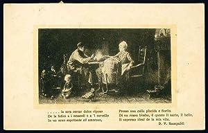 Cartolina in bianco e nero: FAMIGLIA A CENA