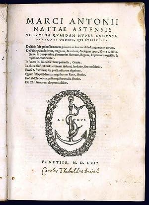 Volumina quaedam nuper excussa, numero et ordine,: NATTA, Marco Antonio