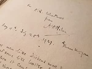 Handwritten Poem by AA (Winnie the Pooh): Milne, AA