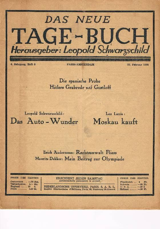 Das neue Tage-Buch. 4. Jahrgang, 22. Februar: Schwarzschild, Leopold (Hg.)