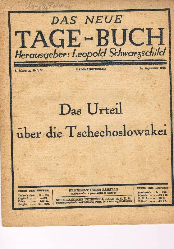 Das neue Tage-Buch. 6. Jahrgang, 24. September: Schwarzschild, Leopold (Hg.)