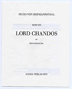 Brief des Lord Chandos an Francis Bacon. Faksimile-Ausgabe.
