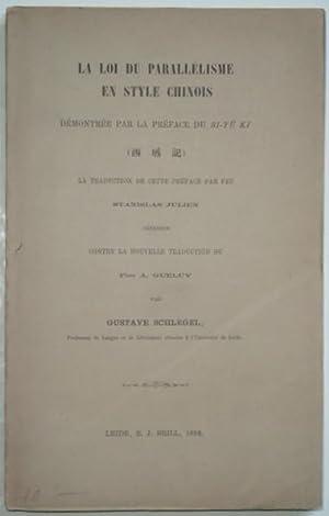 La loi du parallèlisme en style chinois,: SCHLEGEL (Gustave),