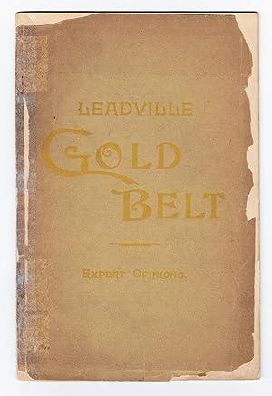 LEADVILLE GOLD BELT; Expert Opinions, 1894 (Colorado): C. H. Morse, Compiler