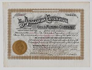 THE ANACONDA EXTENSION GOLD MINING COMPANY, 1892: Horace A. W. Tabor