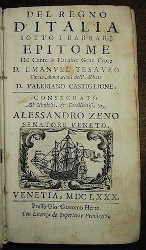 Del Regno d Italia sotto i barbari: Tesauro D. Emanuel