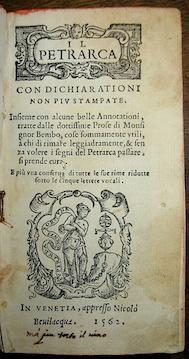 Il Petrarca con dichiarationi non più stampate.: Petrarca Francesco