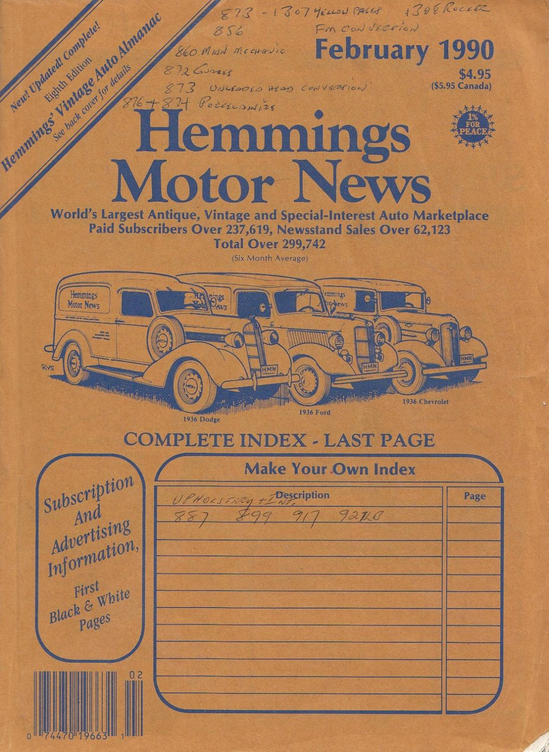 Hemmings Motor News February 1990, Volume 37, Number 2 by Hemmings ...