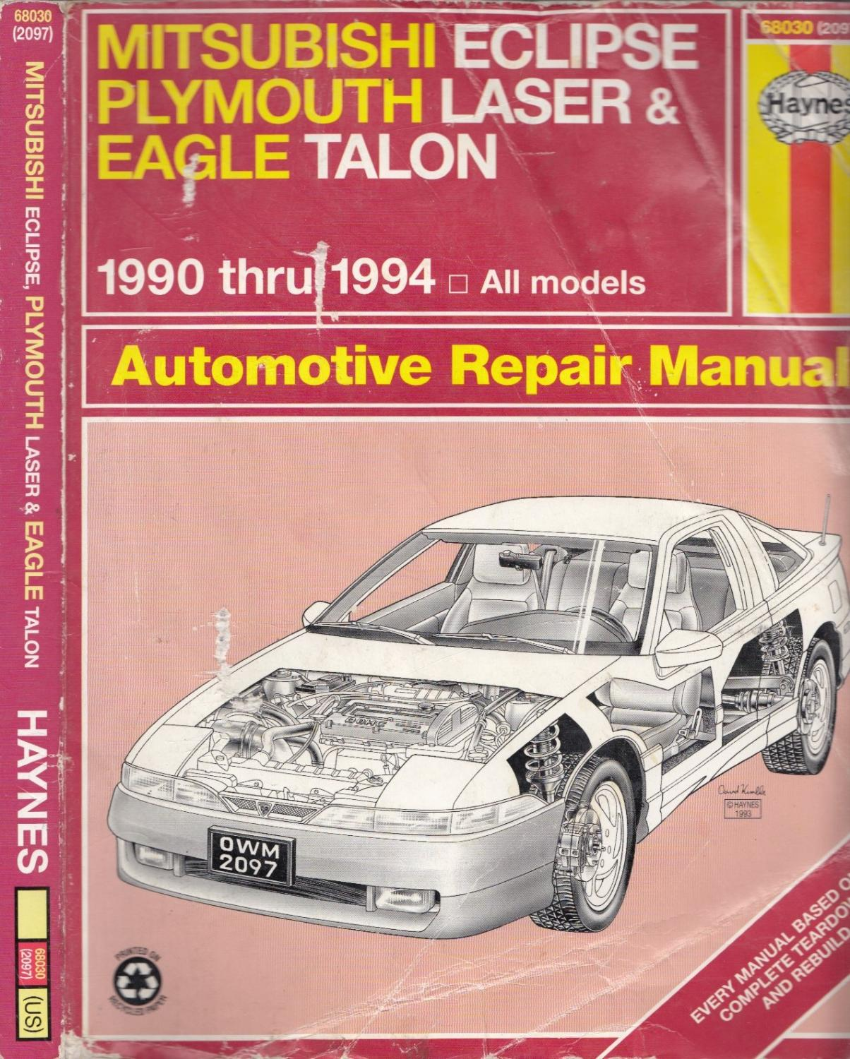 Mitsubishi Eclipse, Plymouth Laser and Eagle Talon (1990 thru 1994)  Automotive Repair Manual