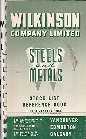 Steels And Metals Stock List Reference Book: Wilkinson Company Staff