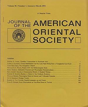 Journal Of The American Oriental Society Volume: Bender, Ernest;Egerod, Soren