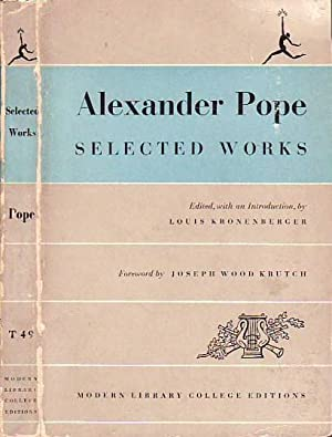 Selected Works MODERN LIBRARY T49: Pope, Alexander