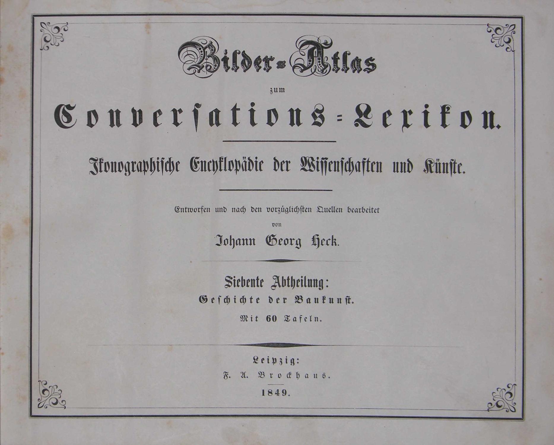 Bilder-Atlas zum Conversations-Lexikon.: Ikonographische Encyklopädie der Wissenschaften und K...