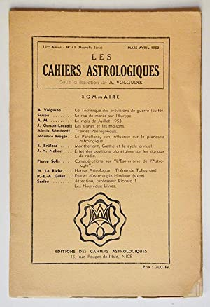 LES CAHIERS ASTROLOGIQUES N° 43 mars-avril 1953