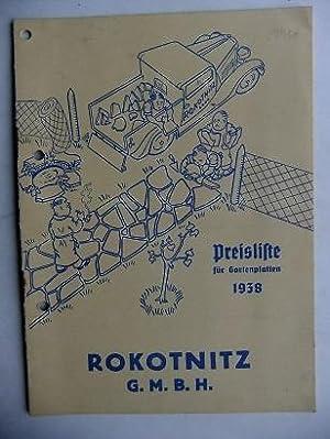 Preisliste für Gartenplatten 1938.: ROKOTNITZ GmbH. -: