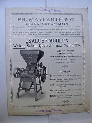 """SALUS""""-Mühlen. Walzen-Schrot-Quetsch u. Mahlmühle; Steinscheiben-Schrot und Mahlmühle;: MAYFARTH Ph. &"""