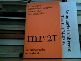 Verzeichnis der Schriften von und über Hans: Meyer,J.: