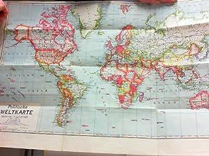 Politische Weltkarte. Vierfarbige Karte im Maßstab 1. 52 000 000. Format 54 x 81 cm. Mit Eisenhahn,...