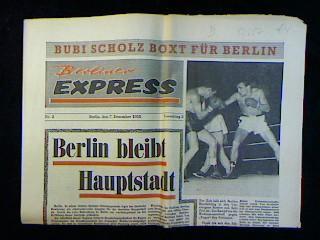 Berliner Express Nr2 Vom 7 Dezember 1958 Vorschlag 2 Bubi Scholz