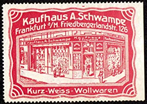 """1 Reklamemarke """"Kaufhaus A. Schwampe, Frankfurt a/M,: Kaufhaus Schwampe -"""