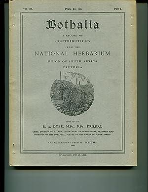 Bothalia Vol VII Part 2: Dyer, R A