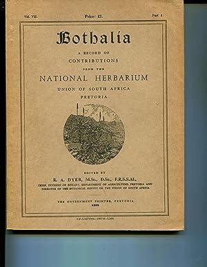 Bothalia Vol VII Part 1: Dyer, R A