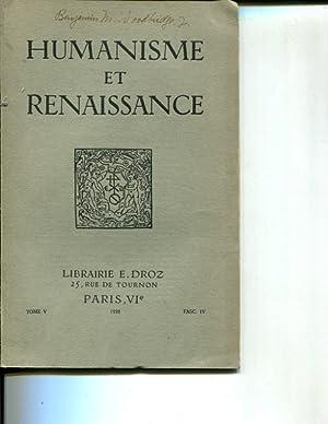 Humanisme et Renaissance, tome V fasc. IV: Collectif
