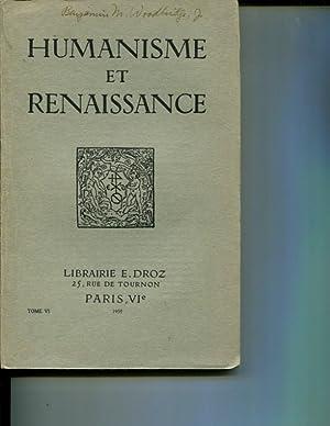 Humanisme et Renaissance, tome VI fasc. I: Collectif