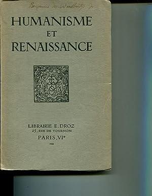 Humanisme et Renaissance. Tome V Fasc. I: Collectif