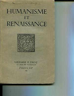Humanisme et Renaissance. Tome VII Fasc. II: Collectif