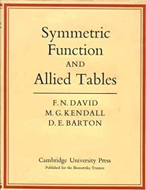 Symmetric Function and Allied Tables: David, F. N.