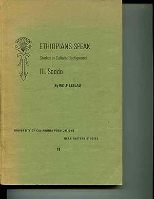 Ethiopians Speak: Studies in Cultural Background, III. Soddo: Leslau, Wolf