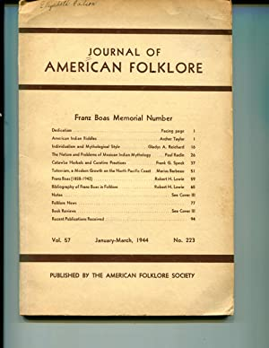 The Franz Boas Number, Journal of American Folklore, Vol. 57, No. 223.